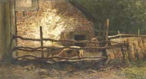 Louis Apol - Varkens bij een stal (Pigs in a sty)