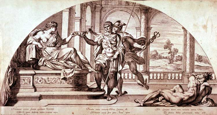 Pietro Aquila - Circe and Ulysses