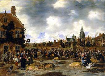 Sybrand van Beest - Pig Market near St Jacob's Church, the Hague