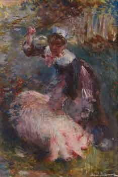 Etienne Prosper Berne-Bellecour - La gardienne de cochon