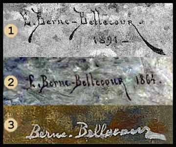 Etienne Prosper Berne-Bellecour - signature comparison