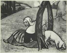 Emile Bernard - La Gardienne de porcs
