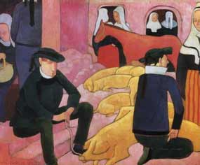Emile Bernard - Bretons gardant les porcs