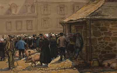 Étienne Blanche - Jour de marché à Pont-Croix