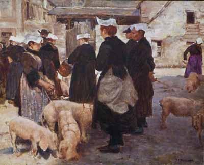 Joseph-Félix Bouchor- Le marché aux cochons d'Auray