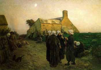 Jules Breton - Evening in the Hamlet of Finistere