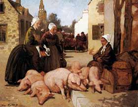 Charles Cottet - Vente des porcs