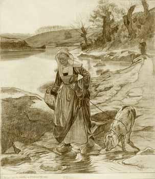 Henri DeLavallée - Bretonne au cochon or Au bord de la rivière