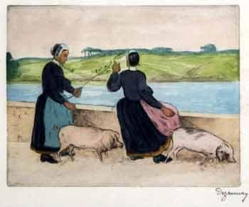 Emile Alfred Dezaunay - Jeunes Bretonnes et leurs cochons en laisse près de la rivière