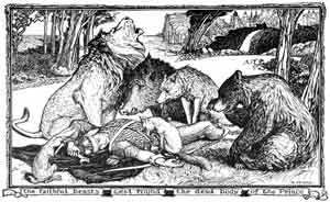 H.J. Ford - The Faithful Beasts Weep Around the Body of the Dead Prince