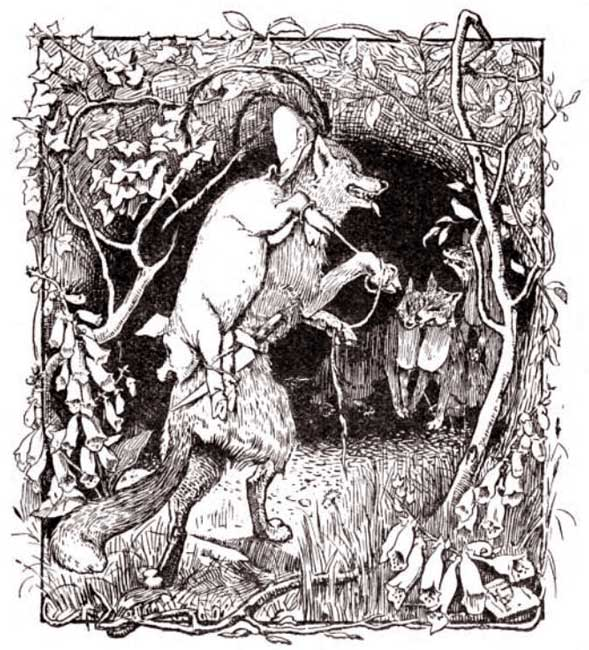 H.J. Ford - The fox caught Whitey and carried her off to his den.