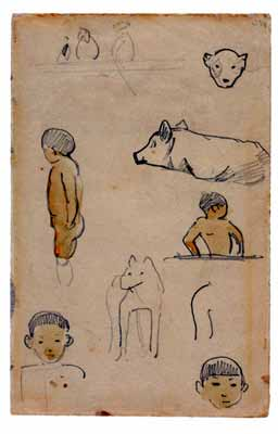 Paul Gauguin - Page from a Tahitian Sketchbook