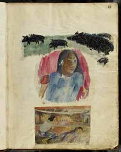 Paul Gauguin - Cochon sauvage, tahitienne, réunion nocturne