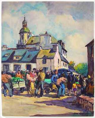 Jean Guennal - A scene from Auray, Brittany