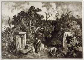 Louis Adolphe Hervier - Femme puisant de l'eau dans un abreuvoir