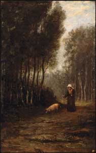 William Morris Hunt - French Peasant Woman with Pig