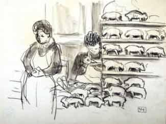 Yvonne Jean-Haffen - Marchandes de petits cochons en pain d'épice (étude)