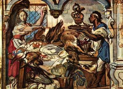 Jacob Jordaens - Gezicht in een Keuken