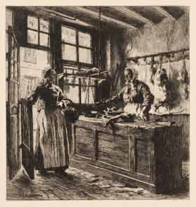 Leon Augustin Lhermitte - Interior of a Butcher Shop