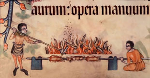 Luttrell Psalter - Roasting meats on a spit