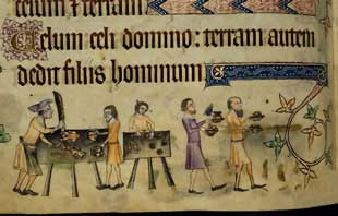 Luttrell Psalter - Carving and serving the meal