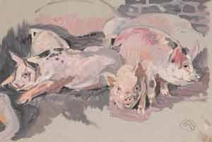 Mathurin Méheut - Petits cochons roses éveillés