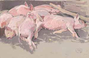 Mathurin Méheut - Petits cochons roses endormis