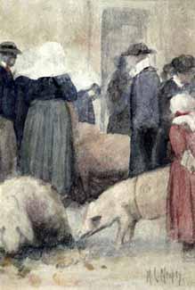 Mortimer Menpes - Marché aux cochons en Bretagne