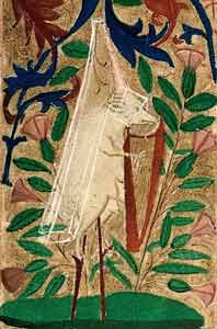 Master of the Harley Froissart - Hatted pig on stilts playing a harp