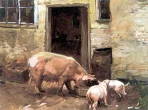 Alfred James Munnings - Farmyard with Pigs