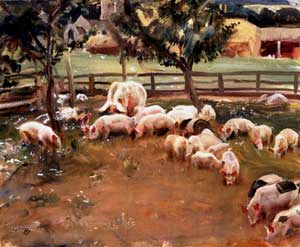 Alfred James Munnings - Pigs At New Market