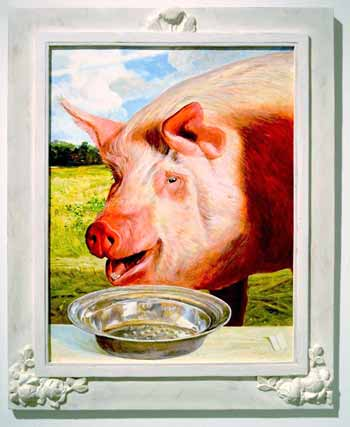 Kermit Oliver - A Swine Before a Silvered Bowl of River Pearls