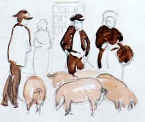 Marguerite Paulet - Croquis au marché Quimperlé, hommes et cochons