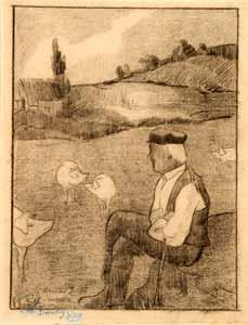 Louis Roy - Paysan gardant ses cochons