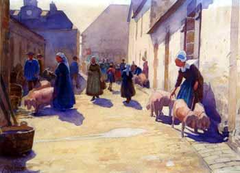 Paul Ruty - Jour de marché aux cochons dans la région de l'Aven