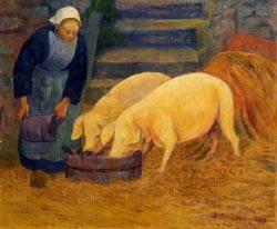 Paul Serusier -Bretonne donnant à manger aux cochons
