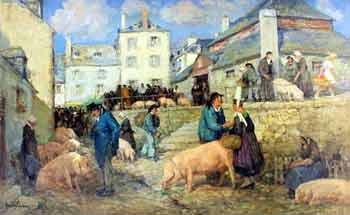 Émile Simon - Scène de marché à Pont Croix