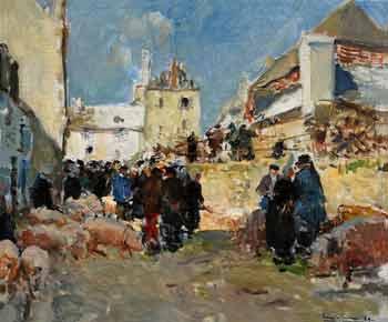 Émile Simon - Scène de marché à Pont-Croix