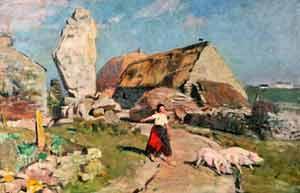 Lucien Simon - Le Menhir de Plozevet