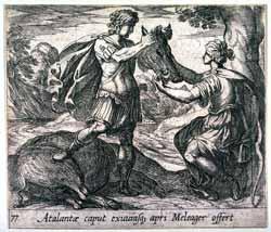 Antonio Tempesta - Atalantae caput exuviasque apri Meleager offert