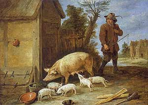 David Teniers the Younger - A Sow and Her Litter