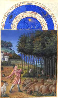 Très Riches Heures du Duc de Berry - November, peasants feeding the hogs