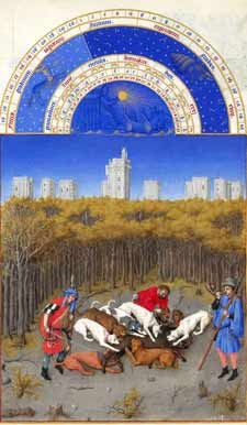 Très Riches Heures du Duc de Berry - December, wild boar hunt in the forests near Château de Vincennes