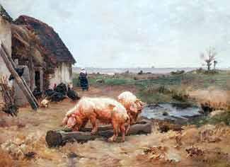 Paul Vayson - Cochons à la ferme