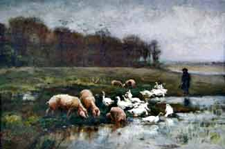 Paul Vayson - Shepherd with pigs and geese