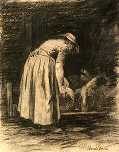 Horatio Walker - Woman Feeding Pigs