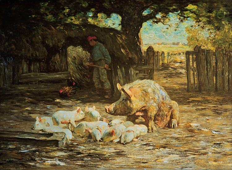 Horatio Walker - Little White Pigs and Mother