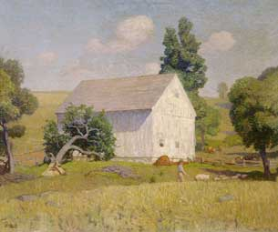 N. C. Wyeth - Chadds Ford landscape with white barn