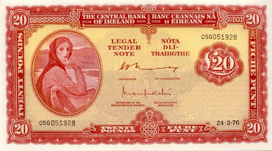 Irish 20 Pound Note